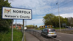 Entrance to Norfolk at Walsoken, Wisbech on the Cambridgeshire and Norfolk County boundary.