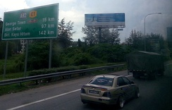 A section of Malaysia's North-South Expressway in Penang. Note the Asian Highway 2 signage.