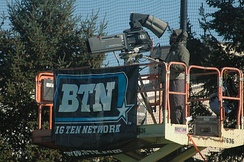 A Big Ten Network camera operator at work during a 2011 field hockey game