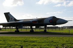 Vulcan XM607 by the side of the A15 at RAF Waddington which took part in Operation Black Buck