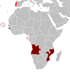 Portuguese overseas territories in Africa during the Estado Novo regime: Angola and Mozambique were by far the two largest of those territories.