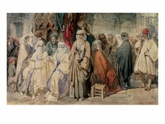 Figures in the Bazaar Constantinople, by Amedeo Preziosi, 19th century