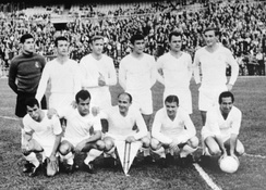 Real Madrid in 1964. Nicknamed Los Blancos (the whites), the club has worn an all-white home kit except for one season in 1925