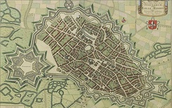 1641 map of Lille in Flandria Illustrata by Anton Sander
