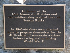 Plaque in honor of 10th Mountain Division at Seneca Rocks, WV.