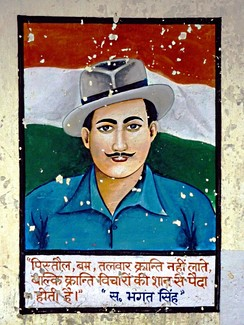 Wall painting of Bhagat Singh. Rewalsar, India. 2010