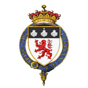 Shield of arms of John Russell, 1st Earl Russell, as displayed on his Order of the Garter stall plate in St. George's Chapel.