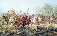Commander Tugai Bey leads the Tatar cavalry, by Juliusz Kossak.