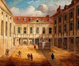A renaissance oil painting of St Thomas' Hospital, where the St Thomas's Hospital Medical School was founded