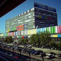 TV test card drawn on facade of Ostankino Technical Center (May, 2016)