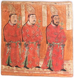 Uyghur princes from Cave 9 of the Bezeklik Thousand Buddha Caves, Xinjiang, China, 8th–9th century AD, wall painting