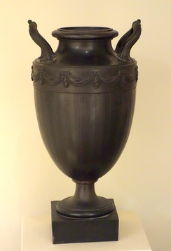 Vase on stand with inverted Neck, Josiah Wedgwood and Sons and Thomas Bentley, before 1780, black basalt. Chazen Museum of Art, Madison, Wisconsin.
