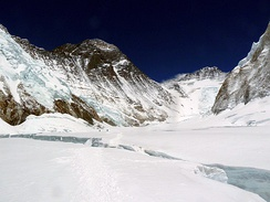 "The Western Cwm (""Coom""), with Everest on the left and Lhotse to the right"
