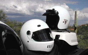 Full face and open face motorcycle helmets