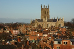 Due to its cathedral (pictured), the county town of Worcester is the only settlement in the county with city status.