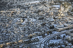 Snow visible on roofs in the Old City of Jerusalem