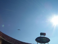 A B-2 Spirit stealth bomber, based at nearby Whiteman Air Force Base, flies over Arrowhead prior to the 2006 Chiefs-Raiders game.