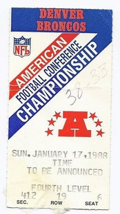A ticket for the AFC Championship Game between the Browns and the Broncos.