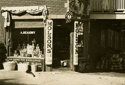 Store in Montreal with advertising for Molson Brewery, 1910
