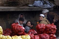 A fruit stand at a village market in Afghanistan.
