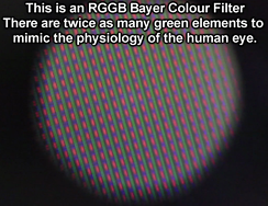 x80 microscope view of an RGGB Bayer filter on a 240 line Sony CCD PAL Camcorder CCD sensor