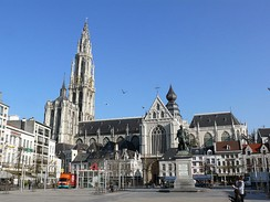 The Onze-Lieve-Vrouwekathedraal (Cathedral of our Lady), here seen from the Groenplaats, is the tallest cathedral in the Low Countries and home to several triptychs by Baroque painter Rubens. It remains the tallest building in the city.