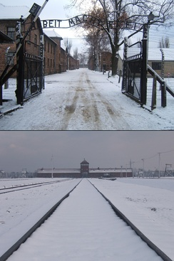 Auschwitz I (above), the concentration camp with its Arbeit macht frei sign; and Auschwitz II-Birkenau, the extermination camp