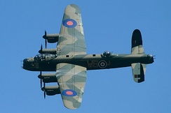The Avro Lancaster heavy bomber was extensively used during the strategic bombing of Germany.