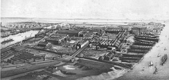 The Port of Barrow and the town's shipyard about 1890