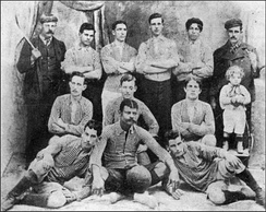 The first recorded photo of Boca Juniors taken in 1906, after winning the Copa Reformista.