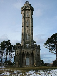 Brizlee Tower, a folly and observation platform overlooking Hulne Park, the Duke of Northumberand's walled estate by Alnwick Castle