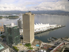 Granville Square (centre building) houses the two major daily newspapers of the city, The Vancouver Sun, and The Province.