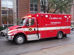 Truck-based ambulance in Columbus, Ohio using a pre-built box system