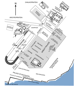 Map of the Great Palace situated between the Hippodrome and the Hagia Sophia. The structures of the Great Palace are shown in their approximate position as derived from literary sources. Surviving structures are in black.