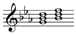 Dominant and dominant parallel in C minor: Gm and B♭M chords Play (help·info).