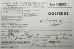 Albert Einstein's landing card (26 May 1933), when he landed in Dover (United Kingdom) from Ostende (Belgium) to visit Oxford.