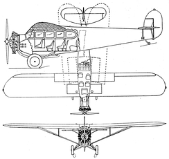 Fairchild 71 3-view drawing from Aero Digest February 1929
