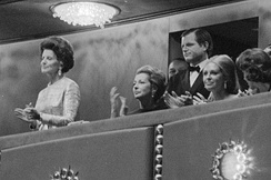 Rose Kennedy and Ted Kennedy in the presidential box during the Center's opening gala on September 8, 1971