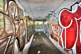 Graffiti-lined tunnel in San Francisco