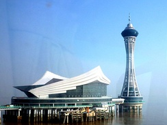 Service center with lookout tower at midpoint of Hangzhou Bay Bridge