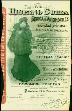 Share of the Hispano-Suiza Fabrica de Automoviles SA, issued December 21, 1918
