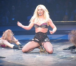 "Spears performing ""Hot as Ice"" at The Circus Starring Britney Spears in 2009"