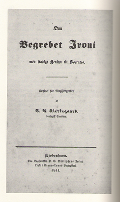 Cover page to Søren Kierkegaard's university thesis (1841).