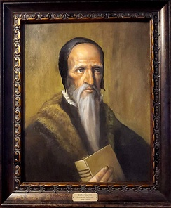 John Calvin, Theologian and Protestant Reformer. Depicts him holding the Scriptures (Geneva Bible) which he declared as necessary for human understanding of God's revelation. Calvin's general, explicit exposition of his view of Scripture is found mainly in his Institutes of the Christian Religion.