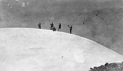 At the summit of Mount Rainier, 1888. Left to right: D.W. Bass, P. B. Van Trump, John Muir, N.O. Booth, Edward Sturgis Ingraham.