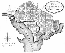 The L'Enfant Plan for Washington, D.C., as revised by Andrew Ellicott in 1792.