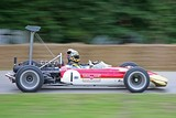 A Lotus 49B with the original, banned rear wing being demonstrated at the 2008 Goodwood Festival of Speed