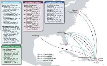 A map of Jones Act carrier routes for Puerto Rico