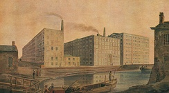 "Cotton mills in Manchester, the world's ""first industrial city"", circa 1820.[76]"