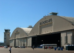 Main hangar and control tower in July 2005